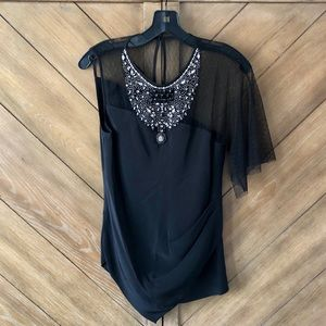 BCBGMaxAzria Beaded Lace Blouse
